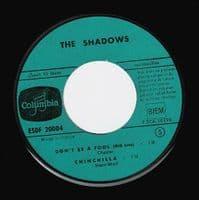 THE SHADOWS Feelin' Fine EP Vinyl Record 7 Inch French Columbia 1960